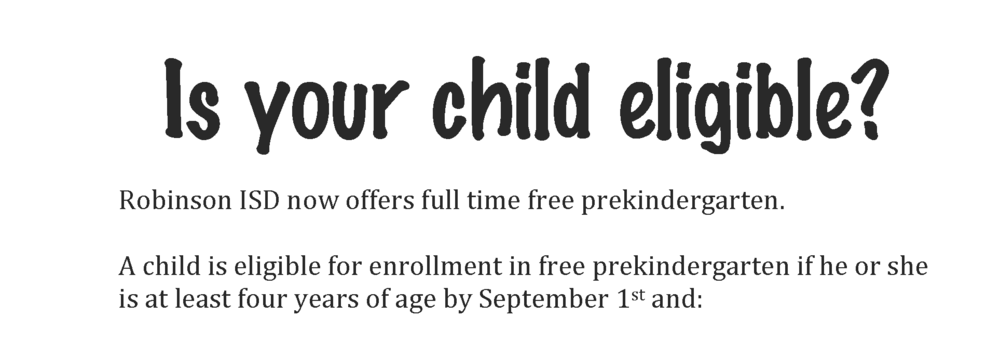 Pre-K Eligibility Information