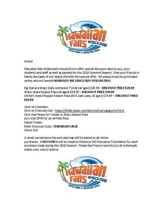 Hawaiian Falls REF Discount/Donation Info