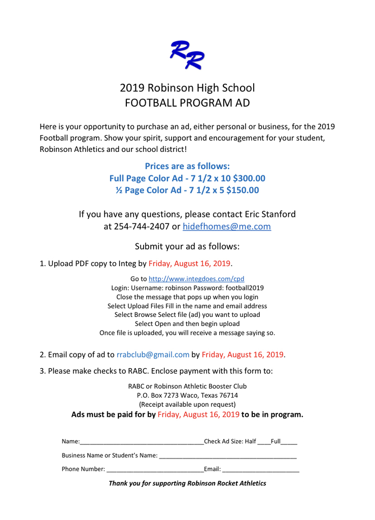 Football program ad information...go RoCkEtS!!